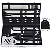 ROMANTICIST 20pc BBQ Grill Accessories Set with Non-Slip Handle in Gift Box - Heavy Duty Stainless Steel Barbecue Grilling Utensils in Aluminum Case - Perfect BBQ Gift Set for Men Dad Women