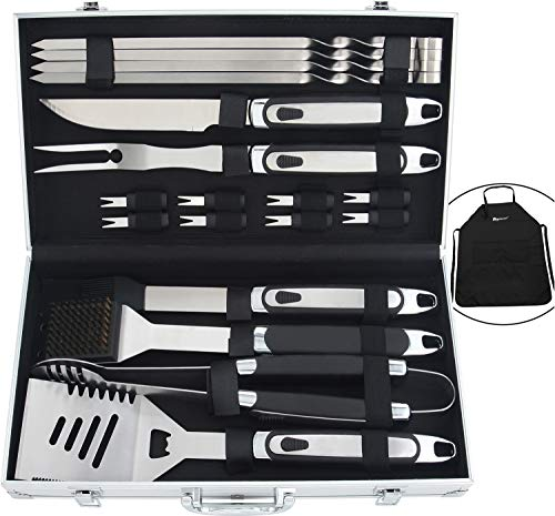 ROMANTICIST 20pc BBQ Grill Accessories Set with Non-Slip Handle in Gift Box – Heavy Duty Stainless Steel Barbecue Grilling Utensils in Aluminum Case – Perfect BBQ Gift Set for Men Dad Women