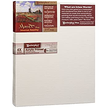 Image of Canvas Pads Masterpiece Artist Canvas 44292 Monet Pro 1-1/2' Deep, 23' x 37', Linen 12.0oz - 4X - Muir Acrylic Primed