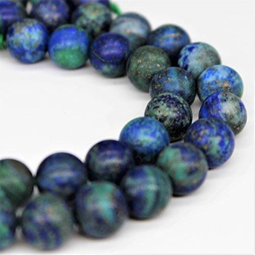 Lynxus Matte Azurite Chrysocolla Gemstone Loose Beads 10mm 37 Beads Per 15.5