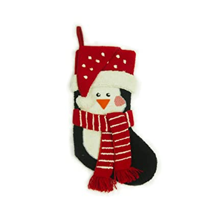 glitzhome hooked 3d penguin christmas stocking 1 piece