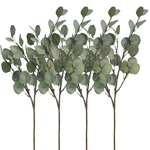 Aisamco 4 Piezas Artificial Dolar de Plata Eucalipto Arbustos Aerosol en Gris Verde 25.5Tallo de Hoja de eucalipto Floral Tallo Artificial Arreglo Floral Inicio Fiesta Decoracion de la Boda