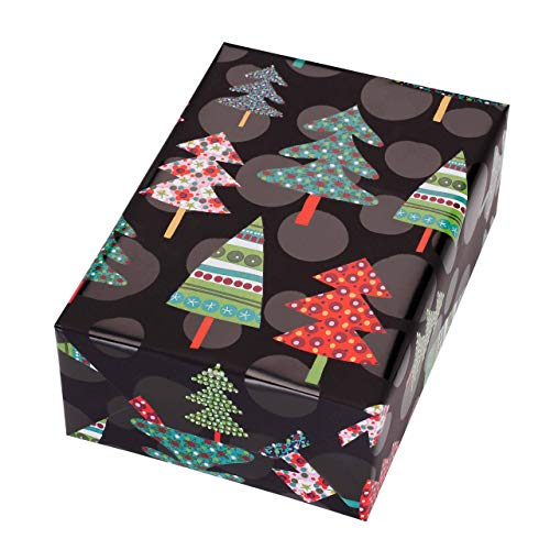 Roll of Wrapping Paper 50 cm x 50 m Montana Motif, dots and Colourful fir Trees Shine from The matt Black Background. for Christmas, Birthday, ()