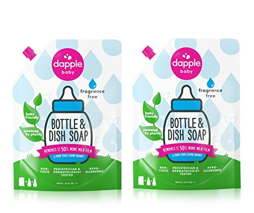 DAPPLE Baby Bottle and Dish Liquid Refill, Fragrance Free Dish Soap, Plant Based, Hypoallergenic, 34 Fluid Ounces (Pack of 2)