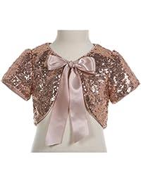 Sequins Mesh Rose Gold Flower Girl Bolero Cape Dress Cover up Shrug