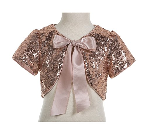 ekidsbridal Sequins Mesh Rose Gold Flower Girl Bolero Cape Dress Cover Up Shrug 12