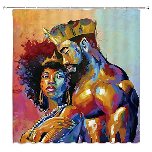 qianliansheji African American Couples Couple Shower Curtain Free Plastic Hook Queen Color Decorative Fabric Bathroom Set Polyester Waterproof Bathroom 70x70 Inch (Couples Shower Curtain)