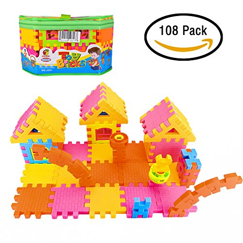 Jellydog Toy Interlocking Building Blocks, Interlocking Building Toy 108 Sets, Stacking BlocksToy for Girls, House Blocks Playset Toy for Kids Ages 2 to 8 Years by Jellydog Toy