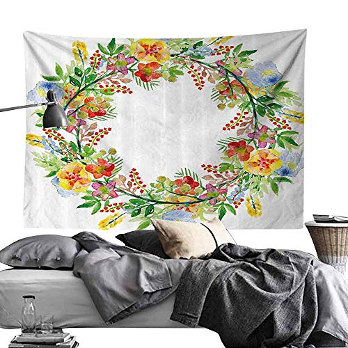 - Polyester Tapestry Flowers Decor Wreath with Branches Flowers and Leaves Save The Date Card Invitation Print Bedroom Home Decor W80 x L60 Multicolored