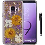 Galaxy S9 Plus Case, iYCK Handmade [Real Dried Flower] Pressed Floral [Gold Foil Embedded] Bling Glitter Sparkle Flexible Soft Rubber TPU Back Cover Case for Samsung Galaxy S9 Plus - Purple Gold