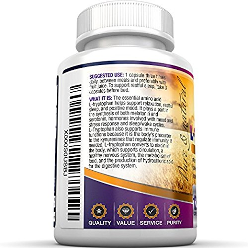 BRI Nutrition L Tryptophan 1500mg Servings 500 mg per Capsule