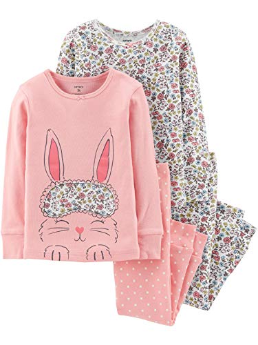 (Carter's Girl's 4-Piece Snug Fit Cotton PJ Set, Bunny Flowers,)
