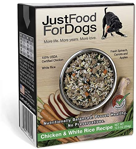 JustFoodForDogs Pantry Fresh Dog Food – Human Grade Ingredients Ready to Serve Adult Dog Puppy Food – Chicken Beef Flavors Set of 6