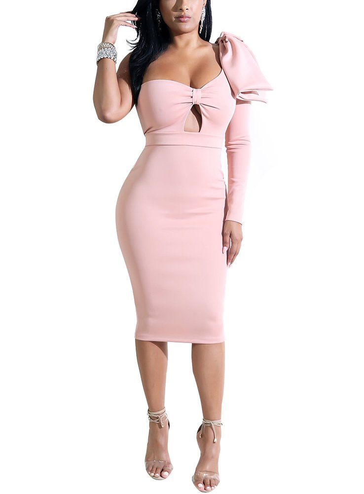 Women's Solid Asymmetrical Bodycon Midi Dress One Shoulder Hollow Out Medium Pink