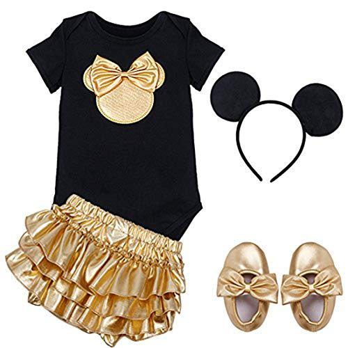 ACSUSS Infant Baby Girls Cartoon Mini Mouse Costumes Shiny Short Sleeves Romper Bodysuit with Ruffled Tutu Skirt Outftis Hair Hoop Gold 18 Months