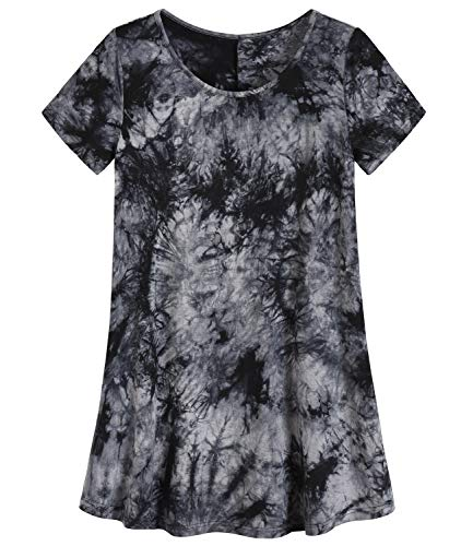 Latuza Women's Plus Size Tunic Shirt Swing Tunic Top M Tiedye Gray ()