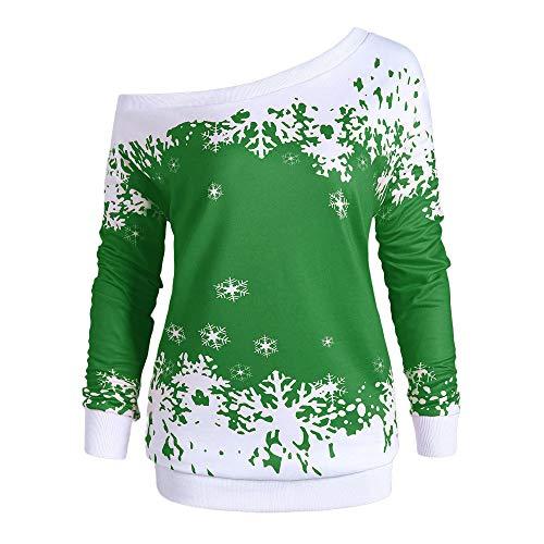 COPPEN Christmas Blouse Women Snowflake Print Long SleeveTops
