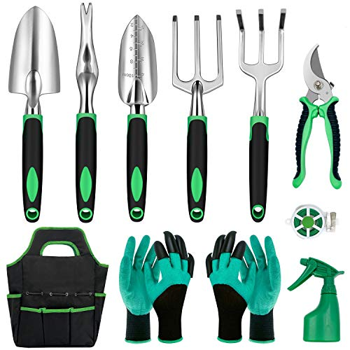 11 Pcs Garden Tools Set- Heavy Duty Aluminum Gardening Hand Tools with Garden Gloves,Trowel and Organizer Tote Bag…