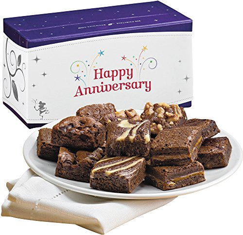 Fairytale Brownies Anniversary Magic Morsel Dozen Gourmet Food Gift Basket Chocolate Box - 1.5 Inch x 1.5 Inch Bite-Size Brownies - 12 Pieces