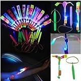 Happyi 25pcs Amazing Led Light Arrow Rocket Helicopter Flying Toy Party Fun Gift Elastic