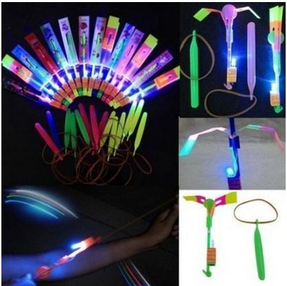 Happyi 25pcs Amazing Led Light Arrow Rocket Helicopter Flying Toy Party Fun Gift Elastic Fun Helicopter
