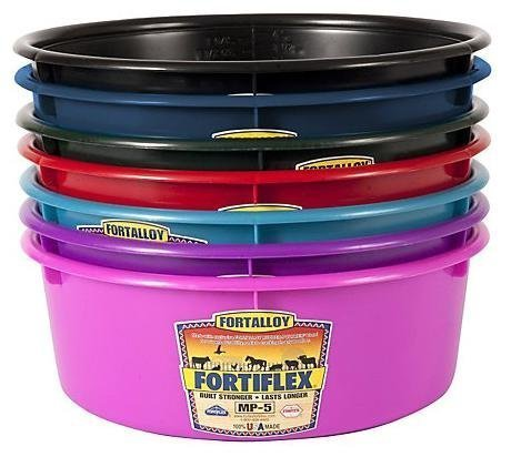 Fortiflex Mini Feed Pan for Dogs and Horses, 5-Quart, Teal Blue