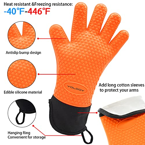 Yolooy Heat Resistant Gloves,BBQ Gloves,Grilling Mitts,Oven Mitts,Cooking Grill Gloves, Long Waterproof Gloves for Barbecue,Frying,Grilling, Fire&Oil , Frozen Handling Resistant(Orange)