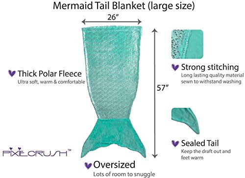 PixieCrush Mermaid Tail Blanket For Teenagers/Adults & Kids Thick, Plush Super Comfy Fleece Snuggle Blanket With Double Stitching, Keep Feet Warm (Large, Shiny Green)