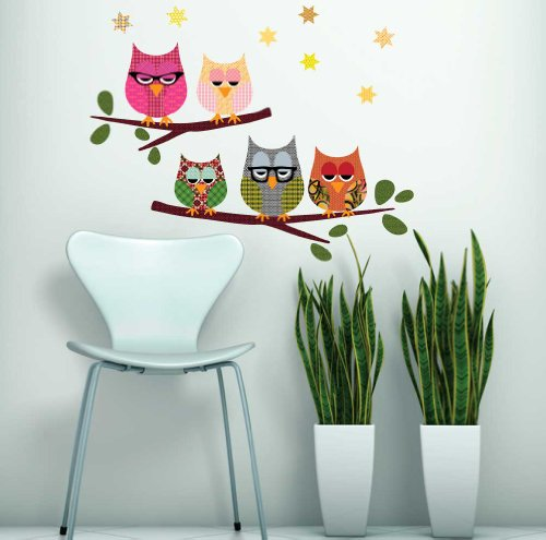 Owls on a Branch Wall Decals Repositionable (Owl Dressed Up For Halloween)