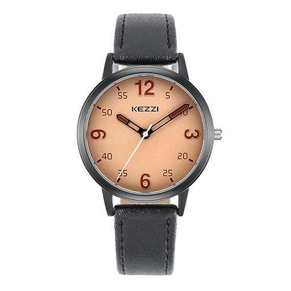 Relojes Mujer con Dial Coloreado, Grande Escala de Números Arábigos Correa de Cuero Relojes de Pulsera de Moda para Chica, Negro: Amazon.es: Relojes