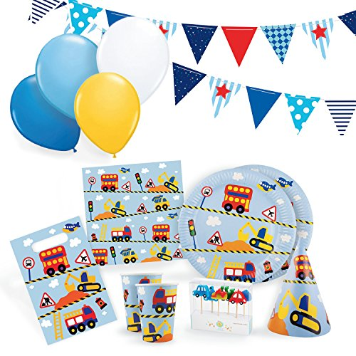 Transportation Party Supplies Set for 12 - Birthday Party Kit Includes Cups, Plates, Napkins, Balloons, Hats, Favor Bags, Candles and Party Bunting -