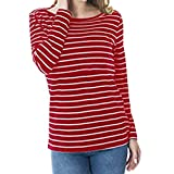 Womens Striped Long Sleeve Crewneck Pregnant Breastfeeding Shirts Blouse Double Layer Maternity Nursing Tunic Tops (Red, Medium)