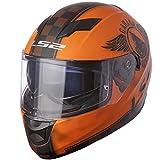 LS2 Helmets Stream Fan Full Face Motorcycle Helmet with Sunshield (Matte Orange, X-Large)