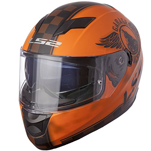 LS2 Helmets Stream Fan Full Face Motorcycle Helmet with Sunshield (Matte Orange, Medium)