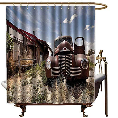 easter shower curtains for bathroom fabric Americana Decor Collection,Abandoned Restaurant on Route 66 with Come on in Sign Desert Road Rusty Old Car Picture,Brown Blue,W48
