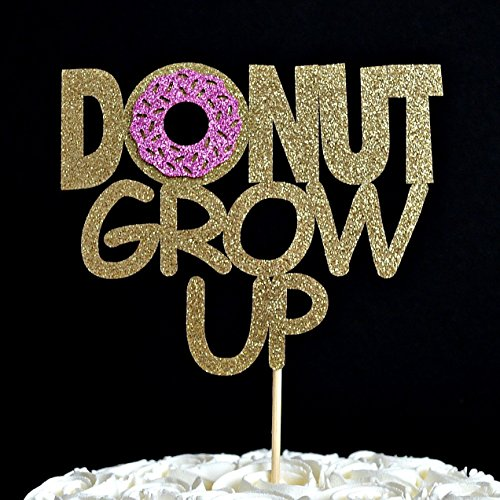 Donut Grow Up Gold Glitter Paper Birthday Cake Topper with Bright Pink Glitter Icing
