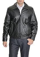 Tommy Hilfiger Mens Black Genuine Leather Bomber Jacket