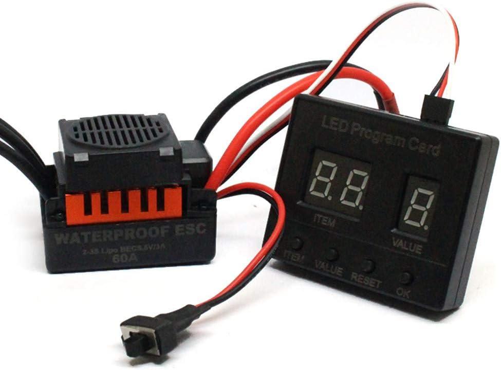B07T18QHVJ Zhaowei B3650 4300KV Brushless Motor+60A ESC+LED Program Card Combo for 1/10 RC Car (Orange) 51cPxsGcs8L