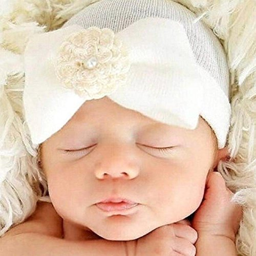 baleba Newborn Hospital Hat Newborn Baby Hats With Pretty Bow Flower Pearl (White)