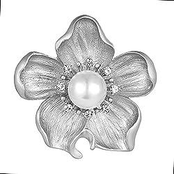 Crystal Pearl Flowers Brooch for Women
