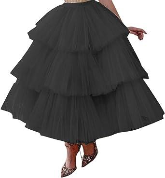 Vintage Falda Tul Tutú Largo Boda Nupcial Mujeres Boda Baile Fiesta Baile de Graduación Falda