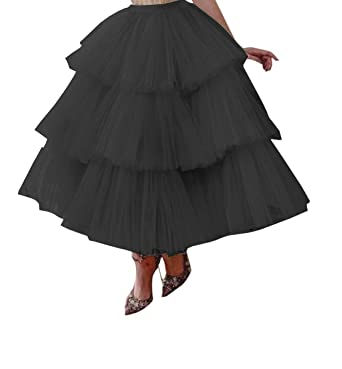 08326eeda Ci-ONE Tulle Maxi Skirt High Waist Fomal Prom Party Skirts Tiered Ruffles  Wedding Cocktail