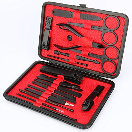 Manicure Set, ESARORA 18 In 1 Stainless Steel Professional Pedicure Kit Nail Scissors Grooming Kit with Black Leather Travel Case by Esarora (Image #2)