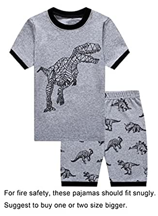 Barara King Little Boys Snug-Fit Pajama Dinosaurs 100% Cotton Grey Pjs Clothes Kid 2T