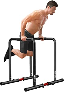 Adjustable Dip Bar- 500lbs Dip Station Portable Functional Fitness Bar with Safety Connector, Heavy Duty Dip Stand Body Press Bar Parallette Exercise Bar Workout Equalizer for Calisthenics-B