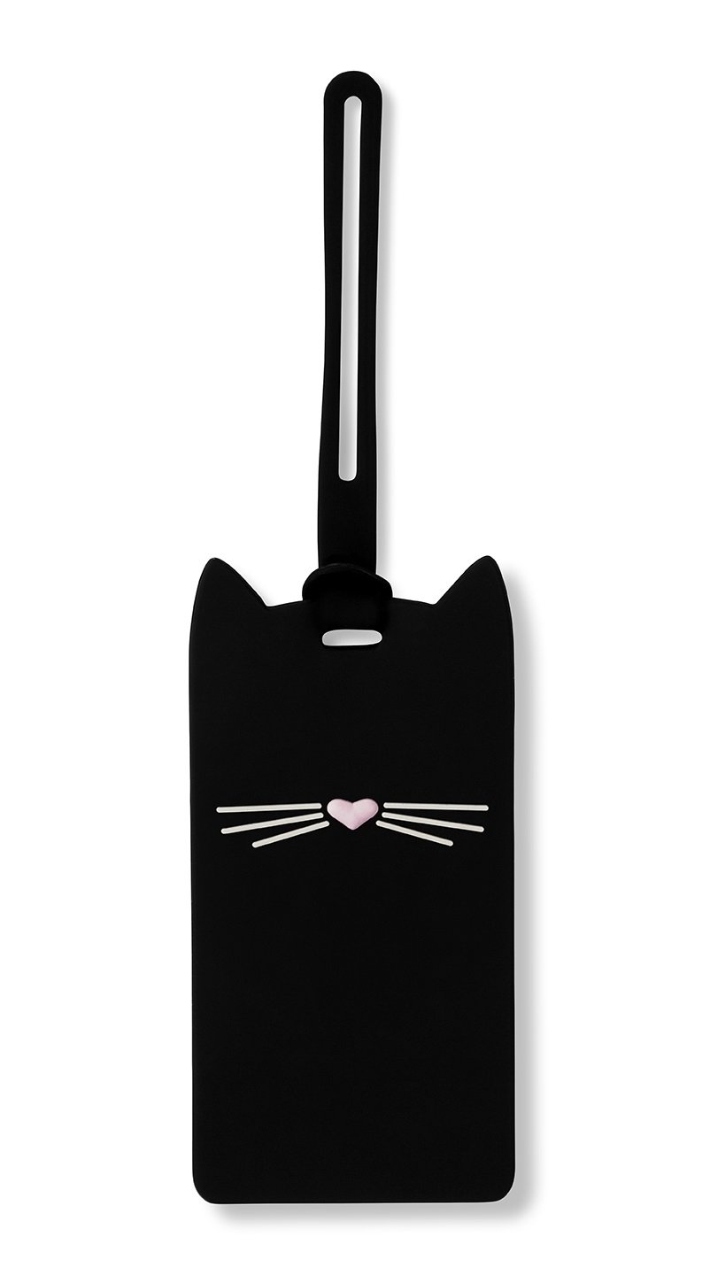 Kate Spade New York Silicone Luggage Tag with Durable Strap, Black Cat by Kate Spade New York