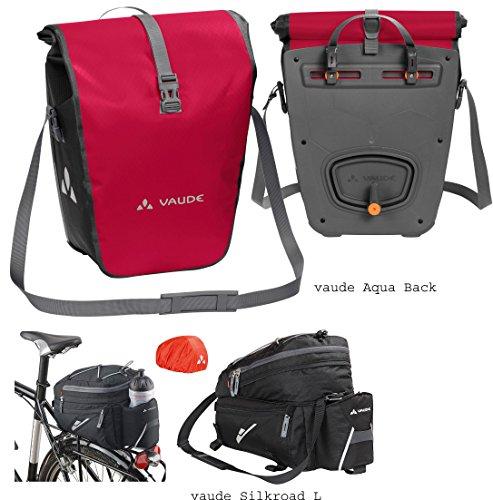 vaude Aqua Back Radtaschen (1 Paar) - Farbe indian red + vaude Silkroad L Gepäckträgertasche