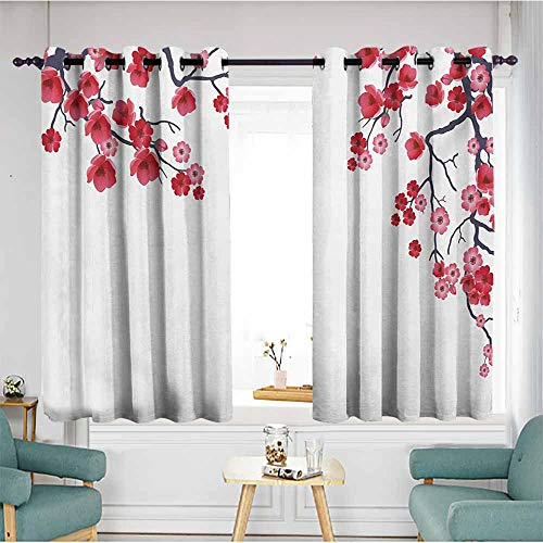 AndyTours Curtains for Living Room,Floral Illustration of Flowering Branch Sakura Traditional Floral Artwork Print,Insulated with Grommet Curtains for Bedroom,W55x39L,Pink White Dark Purple