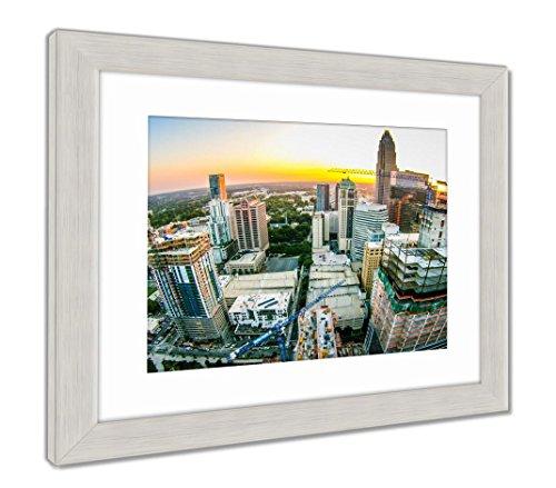 (Ashley Framed Prints Aerial Views At Sunrise Over Charlotte North Carolina, Wall Art Home Decoration, Color, 34x40 (frame size), Silver Frame, AG6352630)