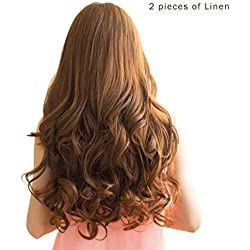 "REECHO 20"" 1-Pack 3/4 Full Head Curly Wave Clips in on Synthetic Hair Extensions Hairpieces for Women 5 Clips 4.6 Oz per Piece - Medium Warm Brown"